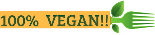100% Vegan Banner with Vegan fork