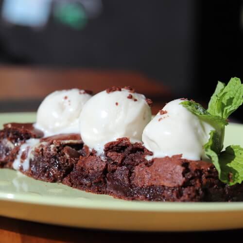 Vegan Halawa Brownies with Vanilla Ice Cream