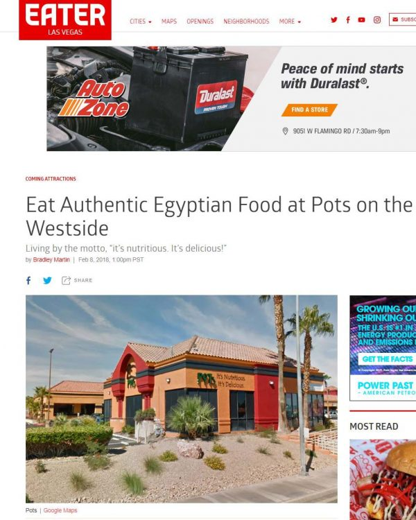 Eater Las Vegas Article - Eat Authentic Egyptian Food at Pots on the Westside