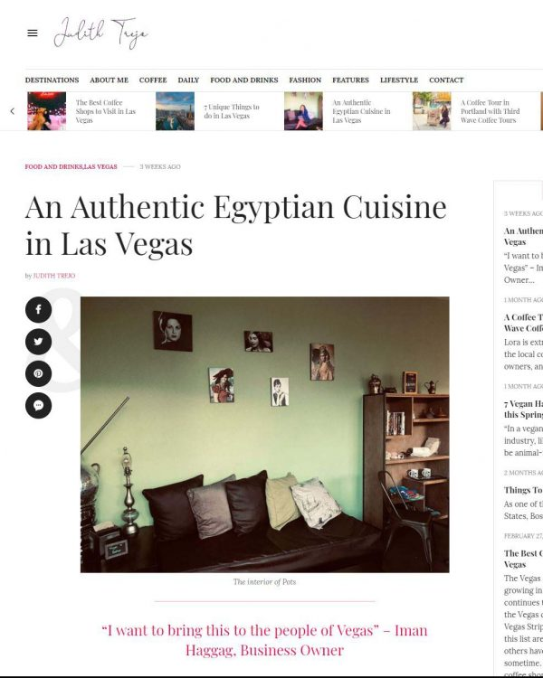 Judith Trejo Article - An Authentic Egyptian Cuisine in Las Vegas