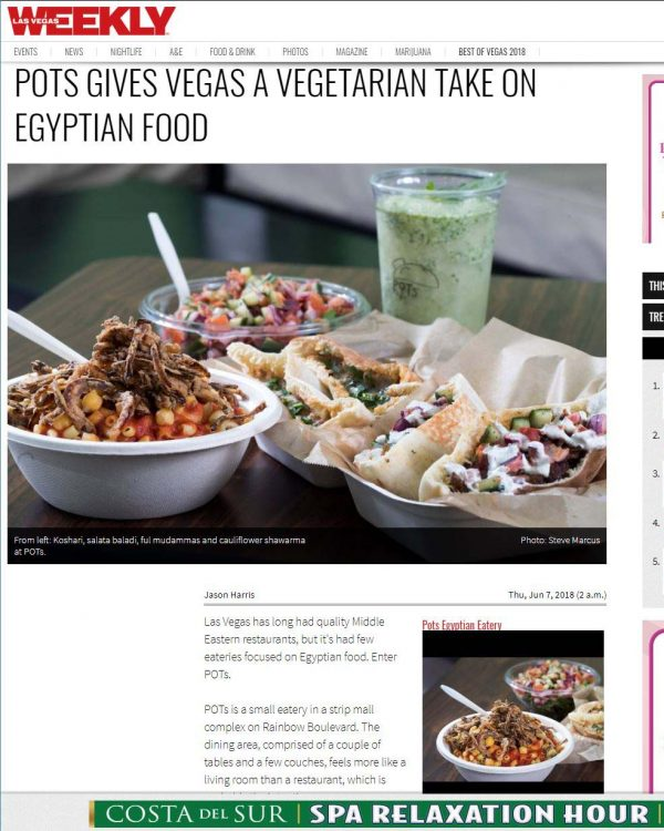 Las Vegas Weekly - POTs Gives Vegas A Vegetarian Take On Egyptian Food