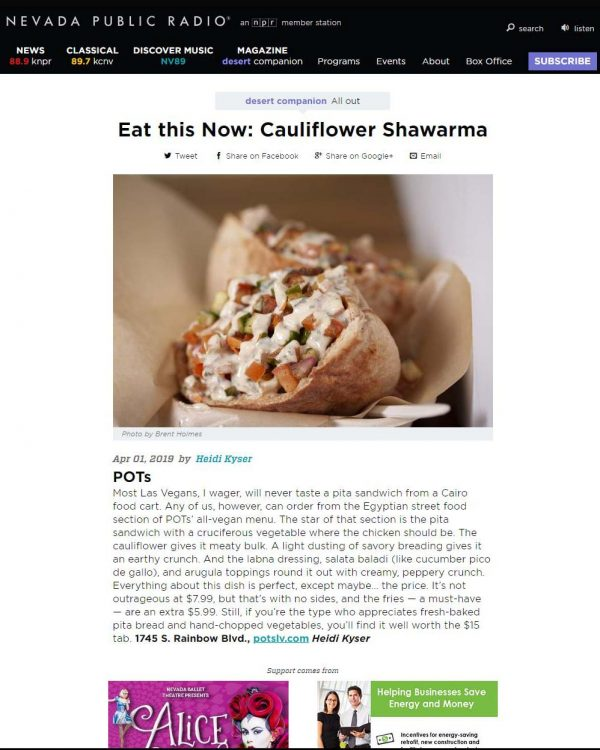 Nevada Public Radio Article - Eat this Now: Cauliflower Shawarma
