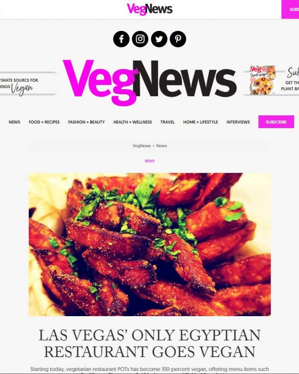 VegNews Article - LAS VEGAS' ONLY EGYPTIAN RESTAURANT GOES VEGAN